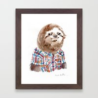 Hipster Sloth Framed Art Print