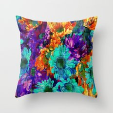 Colored Daisies Throw Pillow