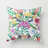 Flower burst, Illustration, print, art, pattern, floral, flowers, colour, painting, design, Throw Pillow