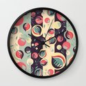 50's floral pattern II Wall Clock