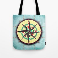 Striped Compass Rose Tote Bag