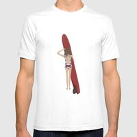 Surfer Girl Mens Fitted Tee White SMALL