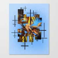 Blades Of Grass And Leaves In The Blue Sky Canvas Print