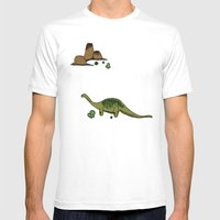 dino saurus Mens Fitted Tee White SMALL