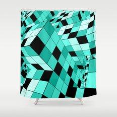 Rubik Series 1, Mint Shower Curtain