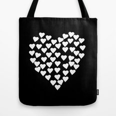 Hearts on Heart White on Black Tote Bag