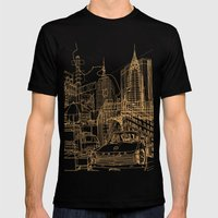 New York! Night Mens Fitted Tee Black SMALL