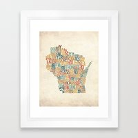 Wisconsin by County Framed Art Print