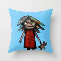 Girl Vith Teddy Bear Throw Pillow
