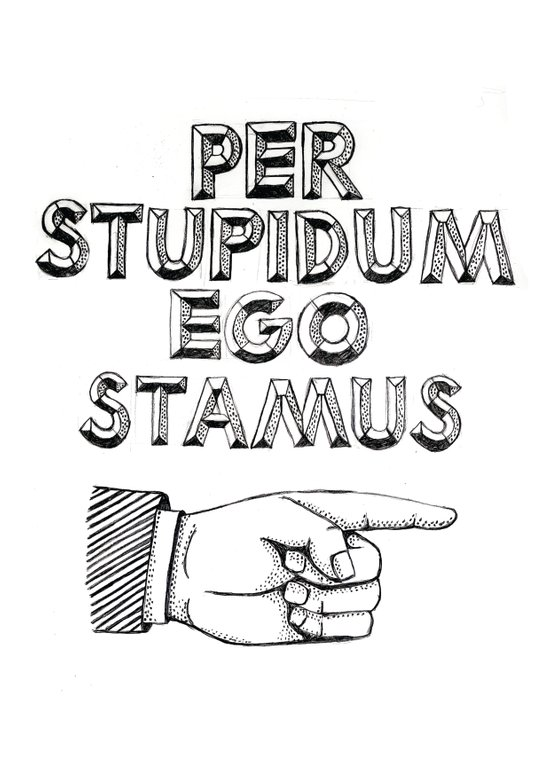 Per Stupidum Ego Stamus (Latin for I'm With Stupid) Canvas Print
