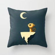 Throw Pillow featuring Moon Cat by Freeminds