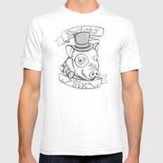 Gentleman Pig (S6 Tee) Black & Gray White Mens Fitted Tee SMALL