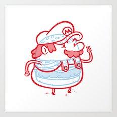 Cheeseburger Mario Art Print
