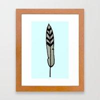 Raccoon Feather Framed Art Print