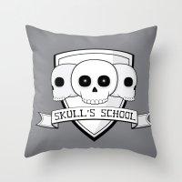 Skull's School Throw Pillow