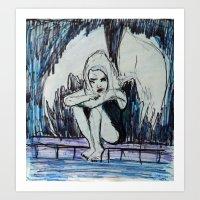 BORED ALBINO FALLEN ANGE… Art Print
