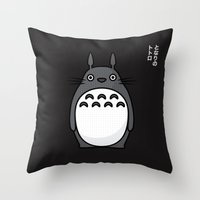 Totoro Pop Art - Black Version Throw Pillow