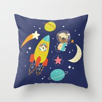 Space Critters Throw Pillow