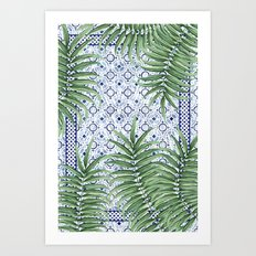Moroccan tiles and palm leaves Art Print