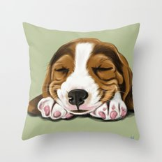 Sleeping Basset Hound Throw Pillow