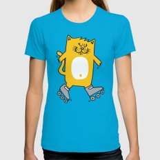 Meow is skating Womens Fitted Tee Teal SMALL