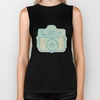 I Still Shoot Film Holga Logo - Turquoise/Tan Biker Tank
