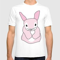 Pink Bunny Rabbit Mens Fitted Tee White SMALL