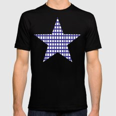 LINES in INDIGO Mens Fitted Tee Black SMALL