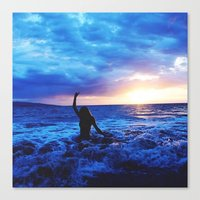 Sunset Swimmer Canvas Print