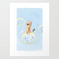 FISH IN UMBRELLA - Tript… Art Print