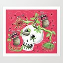Skull Cachepot with Carnivorous Plants Art Print