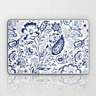 Folk Floral Indigo Laptop & iPad Skin