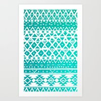 AQUAMARINE TRIBAL  Art Print