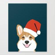 Corgi Christmas  Santa C… Canvas Print