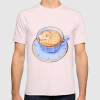 Cat In Coffee Mens Fitted Tee Light Pink SMALL