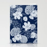 Sketchy Floral: Navy Ton… Stationery Cards