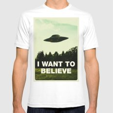 UFO, I Want To Believe SMALL Mens Fitted Tee White
