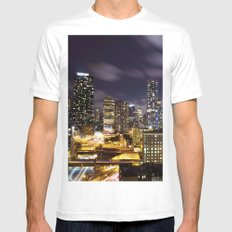 It's Night in New York City SMALL Mens Fitted Tee White