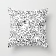 Throw Pillow featuring Infinity Robots Black & … by Chris Piascik