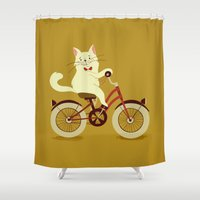 White cat on a bicycle Shower Curtain