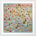 100 little houses Art Print