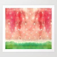 Watermelon drops Art Print