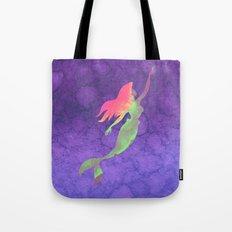 Ariel The Little Mermaid on Purple Watercolor Tote Bag