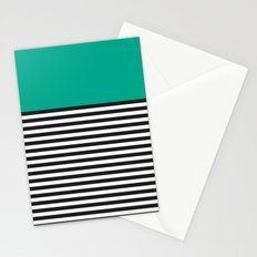 STRIPE COLORBLOCK {EMERALD GREEN} Stationery Cards