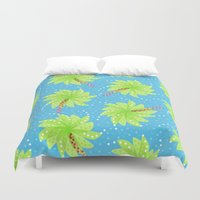Pattern of Palm Tree-like Flowers Duvet Cover