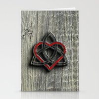 Celtic Knotwork Valentine Heart Wood Texture Stationery Cards