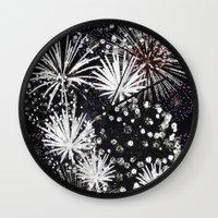 firework flowers Wall Clock