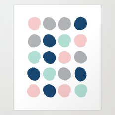 Zanthe - abstract trendy dots polka dots painted dot pattern blue pink pastel pantone color of the  Art Print