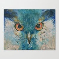 Turquoise Owl Canvas Print