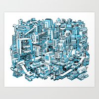 City Machine - Blue Art Print
